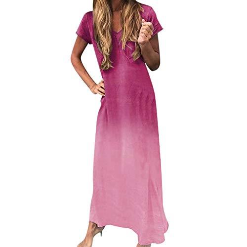 YAYUMI Prime Amazon Day, Women V-Neck Short Sleeve Tie-dye Gradient Print Maxi Color Block Bohemia Dress Hot Pink
