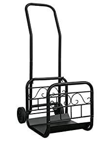 Portable Log Rack, Attachable Cart With Wheels And Handle, Black Color, Made Of Steel, Spacious, Elegant Design, Convenient Transport, Durable And Firm Construction, Perfect Home Decor & E-Book.