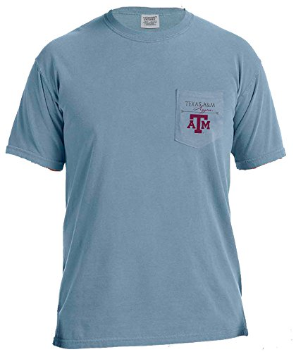 - NCAA Texas A&M Aggies Adventures Short Sleeve Comfort Color Pocket Tee, Large, IceBlue