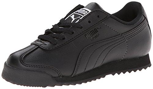 PUMA Kids' Roma Basic JR Sneaker, Black/Black, 4.5
