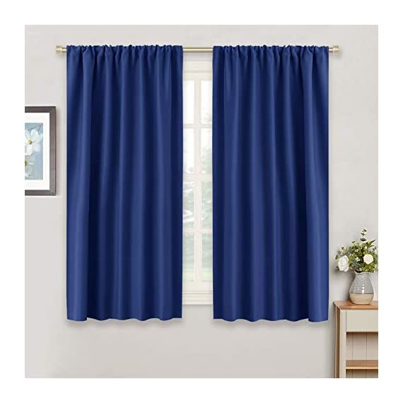 """RYB HOME Blue Curtains Blackout for Bedroom - Heavy Duty Window Treatments Room Darkening Light Block Draperies Thermal Insulated for Small Windows, Wide 42 x Long 54, Marine Blue, 2 Panels - .READY MADE - Blackout curtains sold as 2 panels, each mesure 42"""" width by 54"""" length. Curtains can cover windows to fully width. Pleated style should be 1.5-2.6 times to your windows. Each panel with 3"""" rod pocket fits most standard rods. Curtains can be hung in the way Slot Top or with your own Clip-rings. No liner, same color on both sides. LIGHT BLOCKING - Curtains block 85-99% sunlights and UV rays (Dark color works well) for maximum privacy and undisturbed sleep, which benefit from the innovative triple weave technology. - living-room-soft-furnishings, living-room, draperies-curtains-shades - 41B7JnL QUL. SS570  -"""