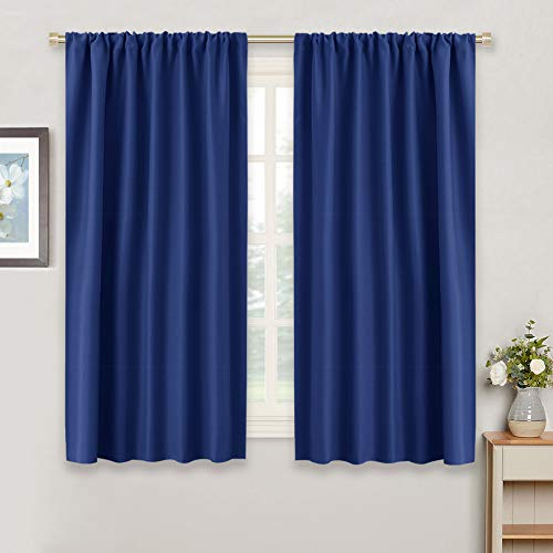 """Blue Curtains Blackout for Bedroom - RYB HOME Rod Pocket Window Treatments Room Darkening Light Block Draperies Thermal Insulated Heavy-Duty for Small Windows, Wide 42"""" x Drop 54"""", Navy Blue,2 Panels"""