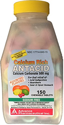 Calcium Carbonate 500 mg Generic for Tums Regular Strength Antacid Tablets for Fast Relief of Acid Indigestion Heartburn Sour Stomach Assorted Fruit Flavored 150 Chewable Tablets per Bottle