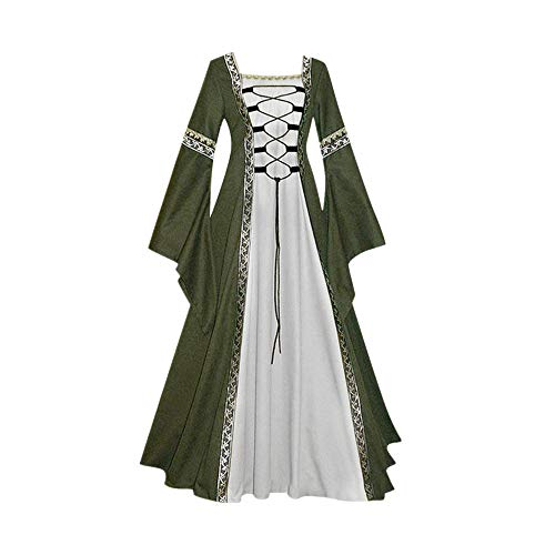 (Victorian Vintage Dresses-Womens Vintage Celtic Medieval Dress Costume Gown Cosplay Costumes Lace up Flare Long)