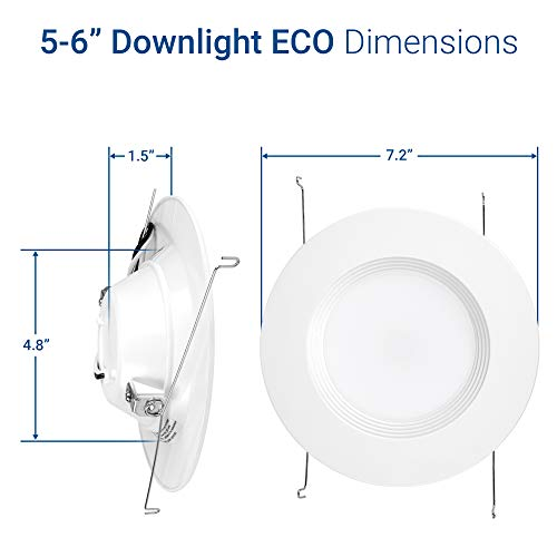 "Hyperikon 6"" LED Recessed Lights (5 Inch Compatible) 14W Downlight Dimmable (75W Equiv.) LED Retrofit Lighting Fixture, Ceiling Recess Can Lights, Halo Retrofit Baffle Trim, 3000K, CRI84, UL (16 Pack) by Hyperikon (Image #9)"