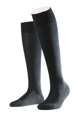 Falke Women's 1 Pair Sensitive Berlin Merino Wool Mix Anatomically Shaped L & R Knee High Sock 7.5-10 Black -