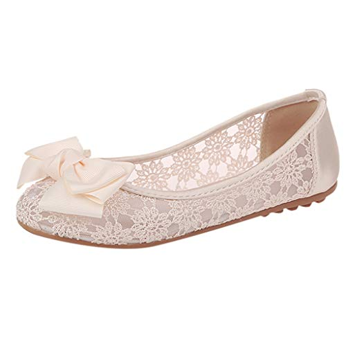 Sherostore ♡ Espadrille Sneakers for Women Hollow Lace Canvas Casual Flats Classic Slip-On Comfortable Dancing Shoes Beige