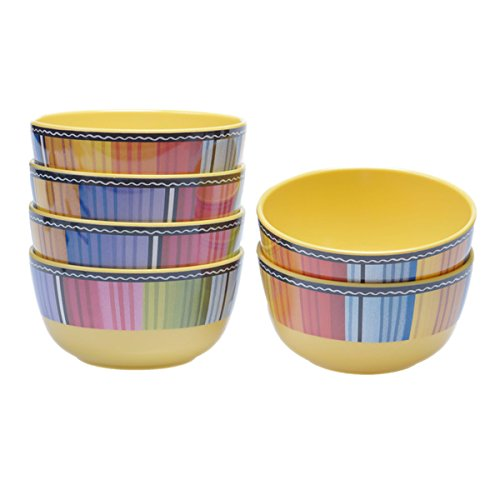 Certified International Hand-painted Serape 5.75-inch Melamine Ice Cream Bowls (Set of 6)