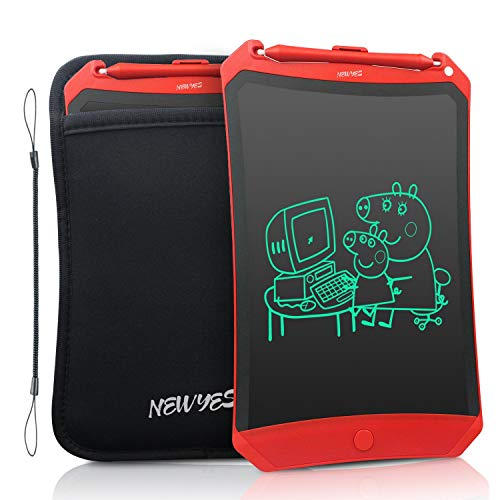 NEWYES Robot Pad 8.5 Inch LCD Writing Tablet Electronic Writing Pads Drawing Board Gifts for Kids Office Blackboard with Lock Function (Red+Case+Lanyard) (Boogie Board Erase)