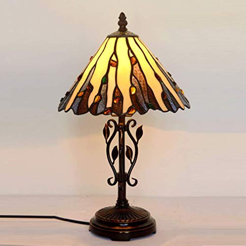 Tiffany Style Desk Lamp/Reading Light, 10-Inch European Style Creative Parlour, Bedchamber, Bedside Lamp, Personalized Antique Stained Glass Table Light, E14, Max60W, BOSS LV ()