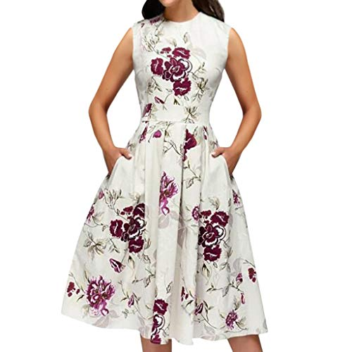 Cenglings Women Elegant 3/4 Sleeve Floral Print A-line Vintage Printing Party Vestidos Dress High Waist Flare Gown Midi Dress
