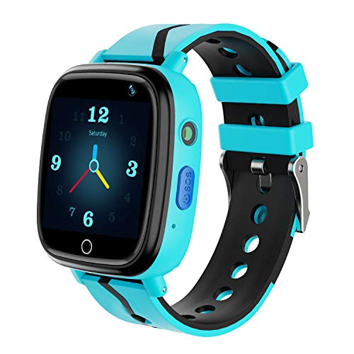 Kids Smart Watch GPS Tracker - Waterproof GPS Tracker Watch for Children Girls Boys with SOS Call Camera Touch Screen Game Alarm for Kids Boys and Girls (D.Blue)