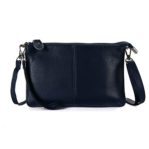 Befen Women's Soft Leather Smartphone Wristlet Crossbody Wallet Clutch with Crossbody Strap/Wrist Strap - Navy Blue