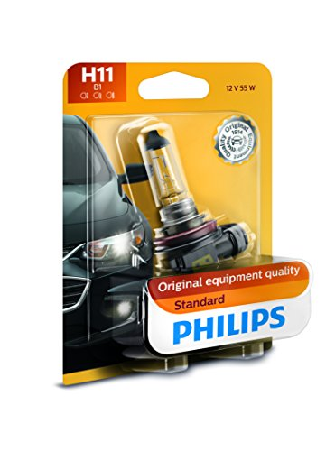 Philips 12362B1 H11 Standard Halogen Replacement Headlight Bulb, 1 Pack (Halogen Headlights Car)