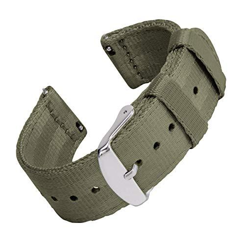 Archer Watch Straps Seat Belt Nylon Quick Release Watch Bands (Olive, 22mm) ()