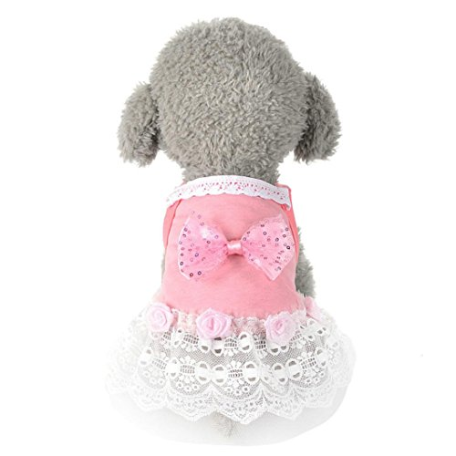 Puppy Clothes,Neartime Pet Bow Tutu Dress Summer Doggy Lace Skirt 2017 New (M, Pink) (Doggy Clothes)
