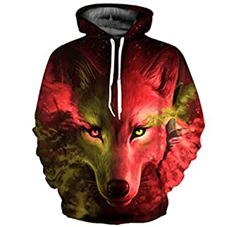 Wolf head pattern 3D digital printing pullover with hoodie fashion