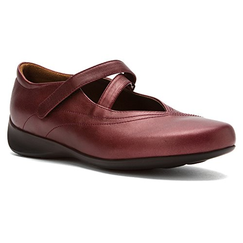 Wolky Comfort Mary Janes Silky Bordo Metallic Leather