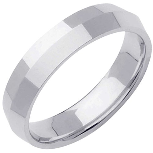 18K White Gold Traditional Knife Edge Men's Comfort Fit Wedding Band (5mm) Size-15.5c1