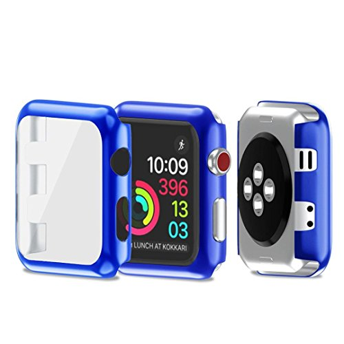 Apple Watch 3 42mm Case, SUKEQ Ultra Thin Electroplate PC Hard Case Cover All Around Full Screen Protector Coverage For Apple Watch Series 3 42mm (Blue) by SUKEQ (Image #3)