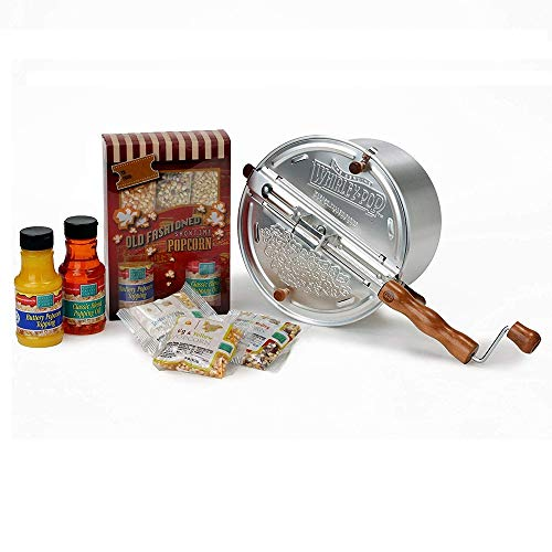 Original Wabash Valley Farms Whirley Pop Silver Stovetop Popcorn Popper - Includes Complete Popcorn Kit with Kernels, Oil and Toppings - Perfect Popcorn in 3 Minutes, Makes a Great Gift (Popcorn Maker Gift Set)