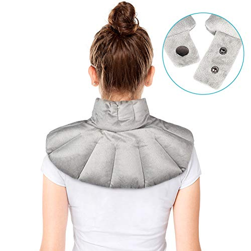 Microwavable Heating Pad for Neck and Shoulder, Lavender Heating Pad Neck with Button, Herbal Aromatherapy Heated Neck Wrap for Muscle Soreness Ease, Stiffness Tension Relief