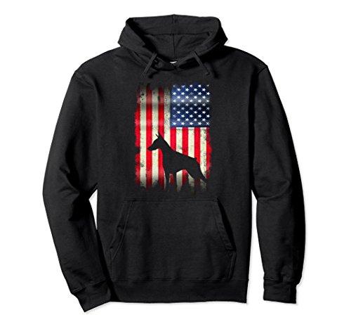 Unisex USA Doberman Dog Vintage American Flag Funny Hoodie XL: Black - Pinscher Adult Hoody Sweatshirt