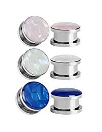 SUPTOP 6pcs Set 3 Color Ear Gauges Shell Pearl Crystal Epoxy Plugs And Tunnels Stretching Kit 2G - 1 inch