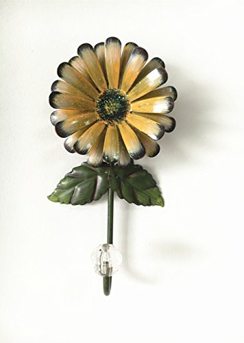 Vintage Iron with Fashion Crystal Diamond Sunflower Decorative Wall Hook ,Cut Key Hat Cloth Towel Bag Wall Hanger Wardrobe Hooks (Yellow)