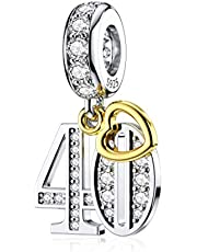 DALARAN Sterling silver ålder berlocker för Pandora 16 18 21 30 40 50 60 Years of Love födelsedag berlock guldpläterad