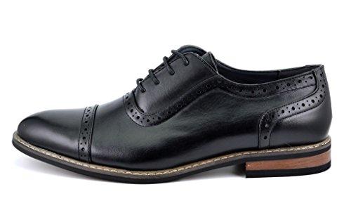 Dröm Par Bruno Marc Moda Italien Prins Mens Klassiska Moderna Oxford Vingspets Spets Finskor Prince-5-svart
