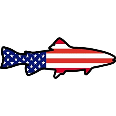 WickedGoodz American Flag Trout Vinyl Decal - Fishing Bumper Sticker - Perfect Angler Gift: Automotive [5Bkhe1006595]