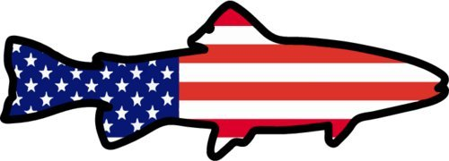 WickedGoodz American Flag Trout Vinyl Decal - Fishing Bumper Sticker - Perfect Angler Gift