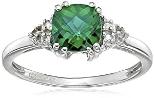 10k Sterling Silver May Birthstone Created Emerald and Diamond Ring, Size 5