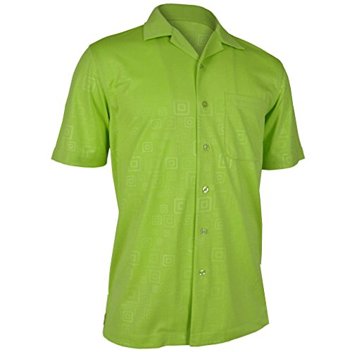 Monterey Club Mens Hallow Geo Emboss Solid Camp Shirt #1227 (Lime Punch, Large)