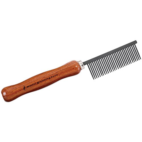 Master Grooming Tools Xylan Combs with Handles - Coated Combs for Grooming Dogs - Medium, - Comb Medium Fine