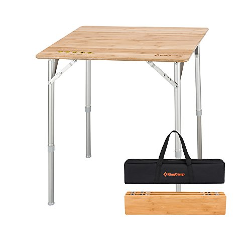 KingCamp 4-Fold Heavy Duty Adjustable Height Aluminum Frame Folding Bamboo Table with Carry - Heights University Square