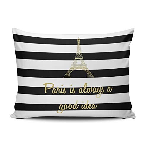 WEINIYA Bedroom Custom Decor Paris is Always a Good Idea Gold and White Throw Pillow Cover Cushion Case Fashion One Sided Printed Design Boudoir 12x20 Inches