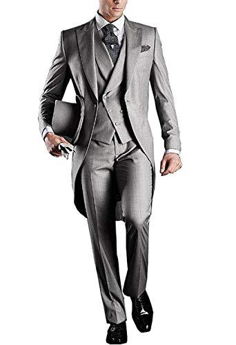 Fashion 3 Pieces Men's Suits Notch Lapel Tailcoat Tuxedos 3pc (Blazer Vest Pants)(Gray,52US)