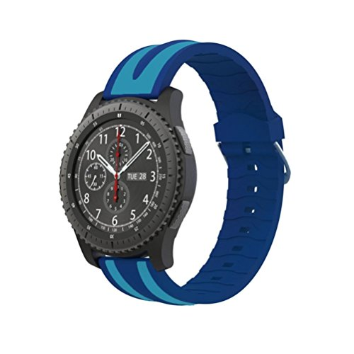 Price comparison product image Gear S3 Classic / Frontier Sport Watch Band, AutumnFall New Quick Release Soft Silicone Double Stripe Watch Strap For Samsung Gear S3 Frontier (Blue)
