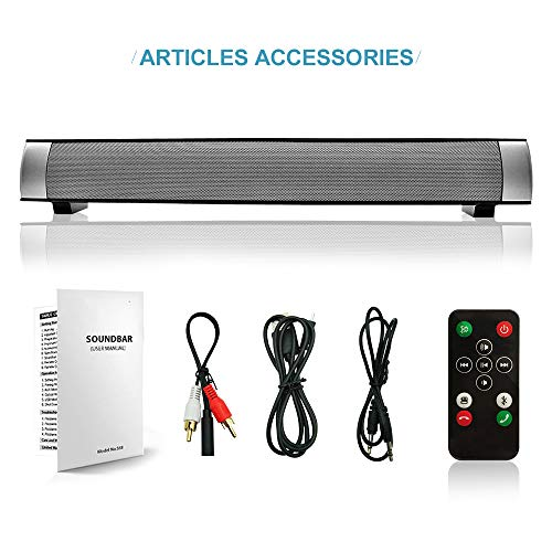 Sound Bar Wired and Wireless Connection 3D Surround Sound Speaker Bar Bluetooth Home Theater Silver with 2.0 Channel Remote Control Dual Connection Methods for TV PC Smartphones Music and Movie by YooGui (Image #6)
