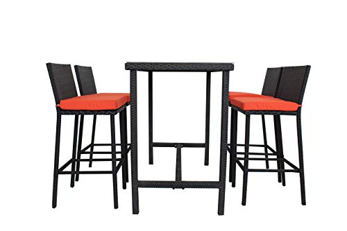 (JETIME Patio 5Pcs Bar Stools Furniture Dining Thanks Giving Day Party Bar Set Rattan Table and Chairs PE Wicker Bar Set Stools with Orange Cushion Table Set Outdoor Indoor Both Use)