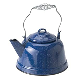 GSI Outdoors Enamelware Tea Kettle, 10-Cup, Blue