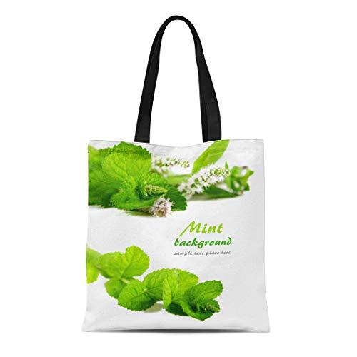 Semtomn Canvas Tote Bag Shoulder Bags Garden Herb Fresh Green Mint White Leaf Mojito Peppermint Women