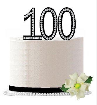 Number 100 Rhinestone Bling 100th Birthday/Anniversary Sparkle Cake Decoration Topper -