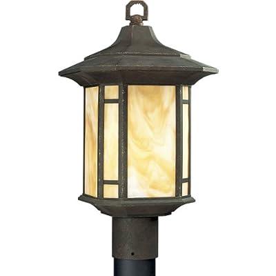 Progress Lighting P5428-46 1-Light Post Lantern with Honey Art Glass and Mica Accent Panels, Weathered Bronze