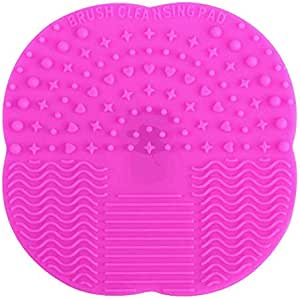 Silicone Makeup Brush Cleaning Mat Scrubber Portable Beauty Washing Tool to Extend the Use of Your Make up and Art Painting Brushes Hot Pink