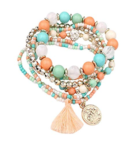 Clearance Sale!DEESEE(TM)Women Multilayer Beads Bangle Tassels Bracelets (Green)]()