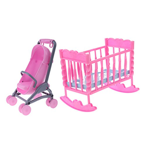 Homyl 1/6 Scale Cradle Bed Stroller Set Furniture for Barbie Dollhouse Baby Children Rooms Accessories Kids Pretend ()