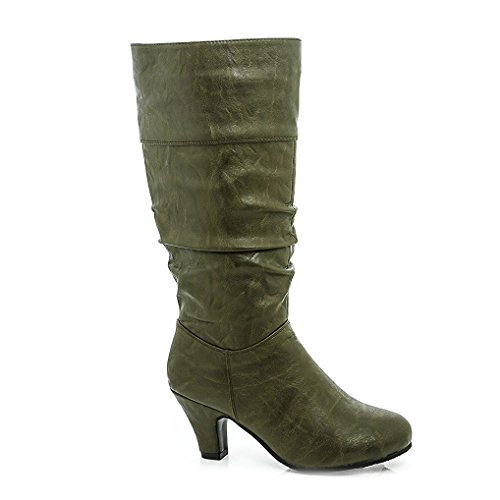 Lady Godiva Womens Joan-6 Heeled Wrkled Boots Olive Size 6.5 by Lady Godiva